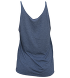 Salinity Gear Ladies tank top, heather navy blue with a red snapper design