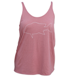 Salinity Gear Ladies tank top, mauve with a red snapper design