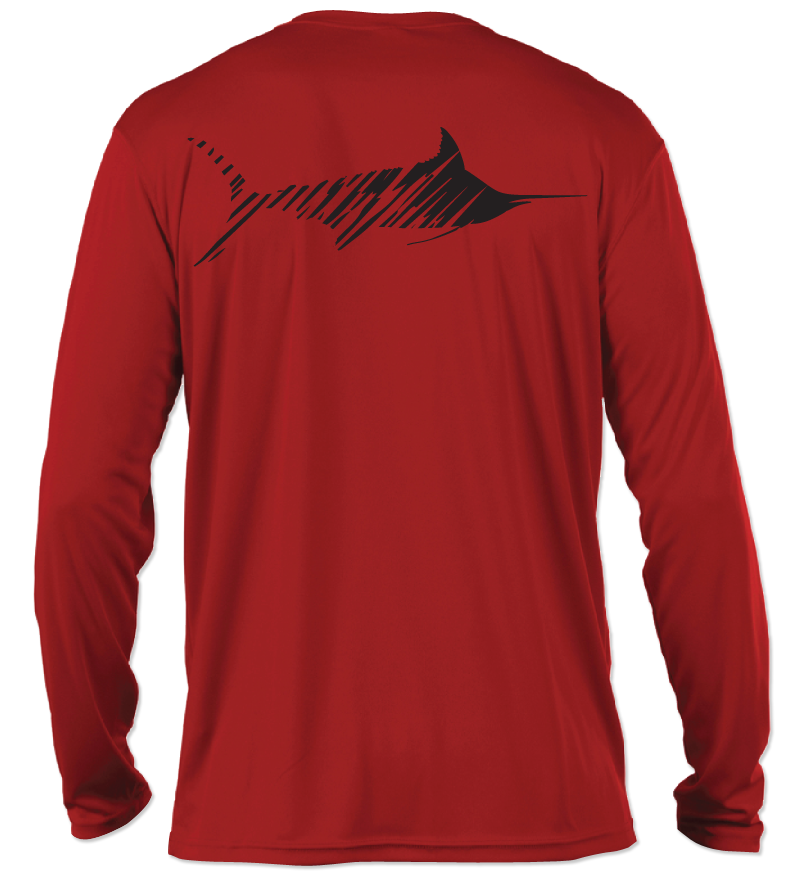 Salinity Gear Performance Fishing Shirt. UPF 50+ Dri-Fit. Red long sleeve shirt with screen printed marlin design