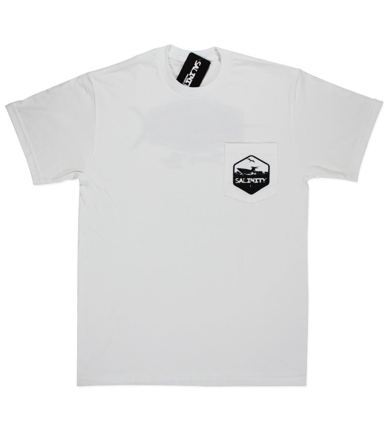 Salinity Gear Marlin Pocket t-shirt. White Cotton short sleeve fishing shirt screen printed marlin design.