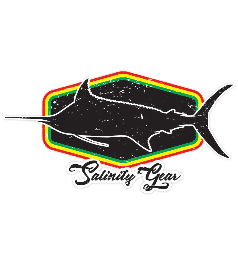 Salinity Gear Rasta Marlin sticker with UV coating