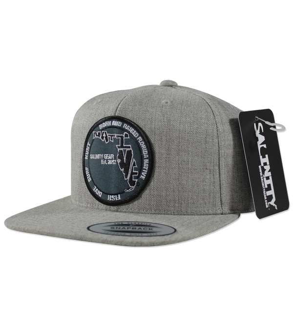 Salinity Gear heather grey Florida Native Patch snapback hat