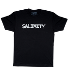 Salinity Gear Florida Native Flag short sleeve fishing shirt. Black cotton t-shirt with screen printed full color Florida Native Flag design on the back andhite Salinity Gear logo on the front.