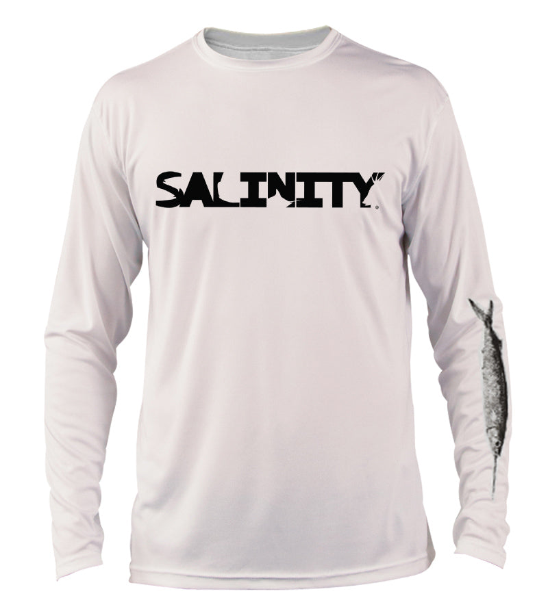 Salinity Gear performance SPF 50 sun protection dri-fit long sleeve youth fishing shirt. White shirt with sublimated rasta sailfish fish rubbing ( gyotaku ) design. The left sleeve has a rubbing of a ballyhoo and the front has a Salinity Gear logo.
