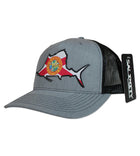 Salinity Gear Florida Sailfish patch mesh grey and black snapback hat