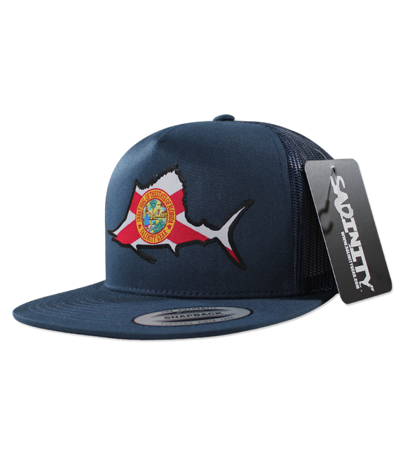 Salinity Gear Florida Sailfish patch blue snapback hat