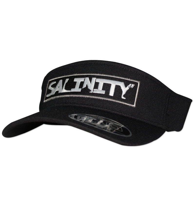 Salinity Gear Patch flexfit visor. Black visor with adjustable flexloop elastic hook and loop closure