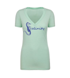 Salinity Gear Seahorse ladies short sleeve v-neck shirt. Mint ring spun cotton v-neck t-shirt with screen printed seahorse design