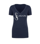 Salinity Gear Seahorse ladies short sleeve v-neck shirt. Heather navy blue ring spun cotton v-neck t-shirt with screen printed seahorse design