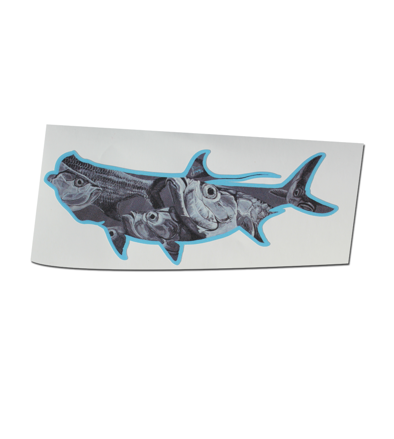 Salinity Gear extra large tarpon die cut sticker. Made of high quality material with uv protective coating and designed by local artist Jessica Shipley.