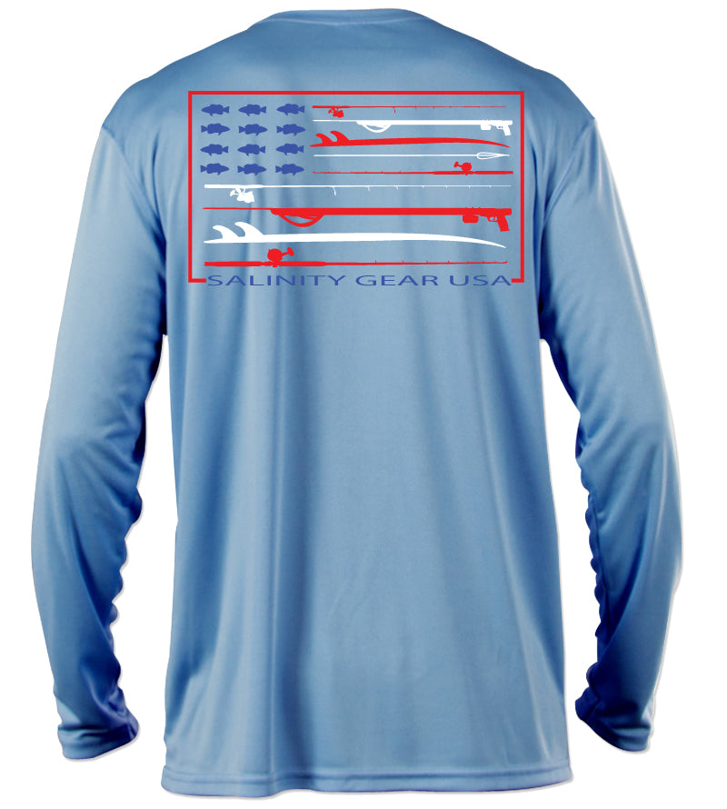 Salinity Gear performance SPF 50 sun protection dri-fit long sleeve fishing shirt. Columbia blue shirt with screen printed Salinity Gear USA design. American Flag design created with spearguns surf boards and fish on the back. The front has The Salinity Gear logo with the American Flag inside of it.