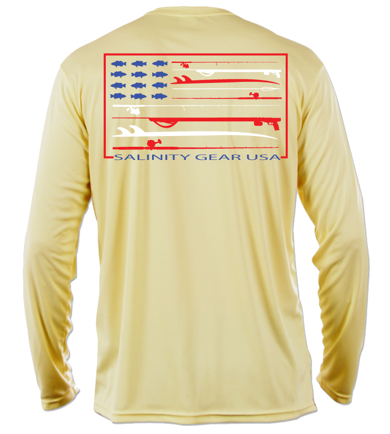 Salinity Gear performance SPF 50 sun protection dri-fit long sleeve fishing shirt. Pale Yellow shirt with screen printed Salinity Gear USA design. American Flag design created with spearguns surf boards and fish on the back. The front has The Salinity Gear logo with the American Flag inside of it.