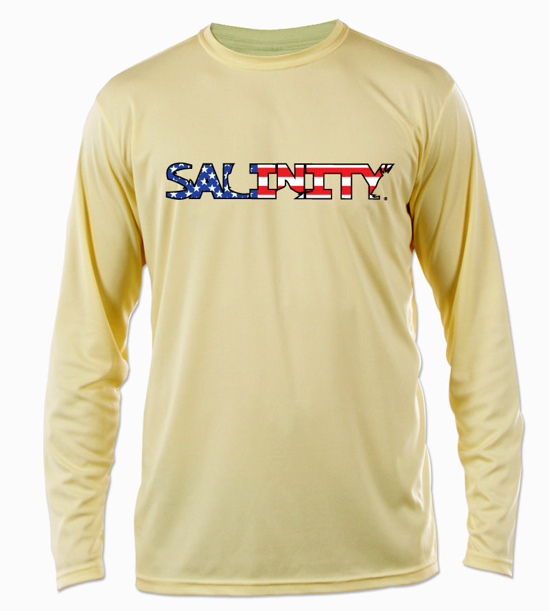 17f9c3afe05 Salinity Gear performance SPF 50 sun protection dri-fit long sleeve fishing  shirt. Pale