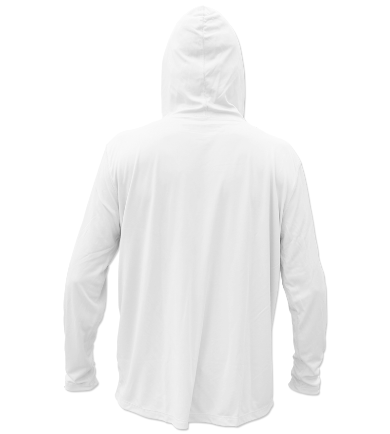 Salinity Gear Performance Fishing Hoodie - UPF 50+ Dri-Fit Shirt. Long sleeve white hoody with screen printed Salinity logo on chest