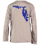Salinity Gear performance SPF 50 sun protection dri-fit long sleeve youth fishing shirt. Light grey shirt with blue screen printed Florida Native design on the back and the Salinity Gear logo on the front.