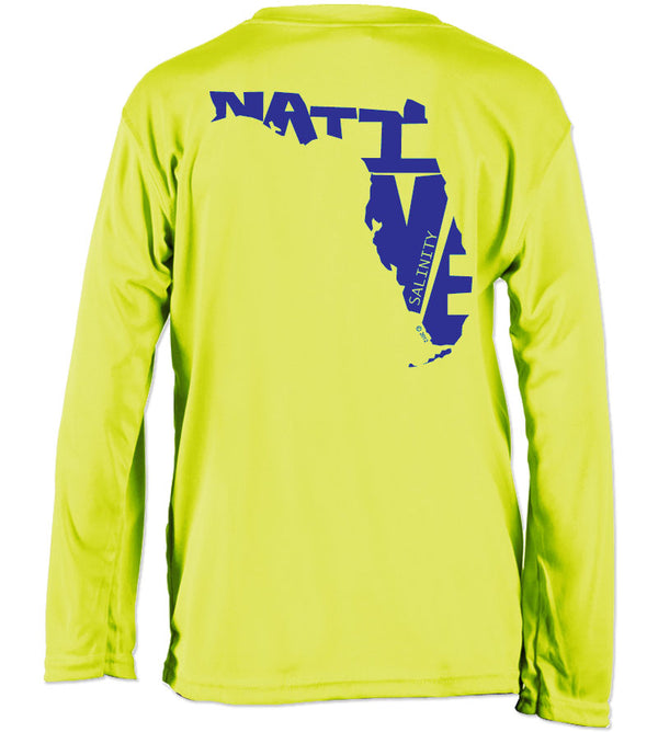 Salinity Gear performance SPF 50 sun protection dri-fit long sleeve youth fishing shirt. Neon yellow shirt with blue screen printed Florida Native design on the back and the Salinity Gear logo on the front.