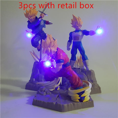 Dragon Ball Z Super Saiyan Goku Vegeta Trunks APF Led Action Figurines!