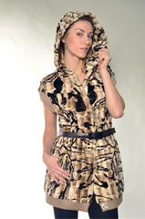 BROWN PRINT MINK FUR VEST [DI-6142-3]
