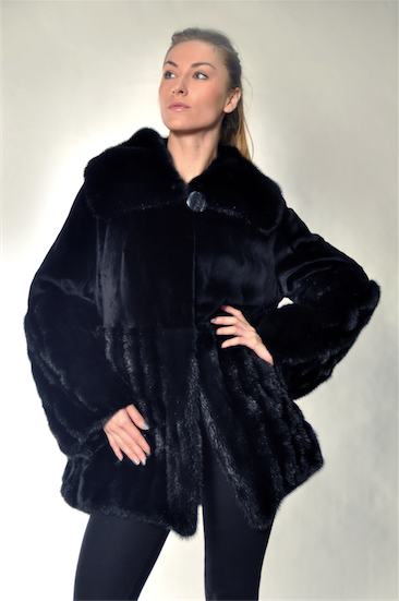 Black sheared mink jacket with long-hair hem, wing collar, and sleeves [GRK-R15-BLACK-12]