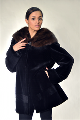 BLACK SHEARED BEAVER FUR JACKET [KC-F1671]