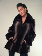 TWO TONE BROWN SHEARED MINK FUR JACKET [OC-06287]