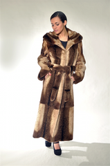 BROWN SHEARED MINK FUR COAT [OC-06329]