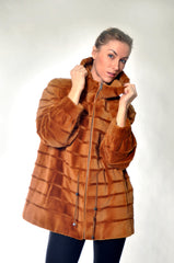 WHISKEY SHR'D MINK FUR JACKET [T-183]