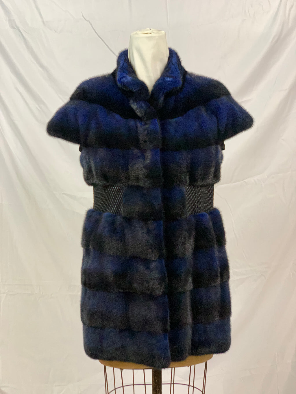 "29"" Electric blue dyed mink vest with leather waistband and stand collar [VI-6190-BLUE-6]"