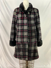 "36"" Black plaid sheared beaver stroller with long-hair mink trim"