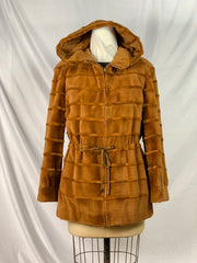 "29"" Whiskey sheared grooved mink bolero jacket with hood, long-hair mink trim, reverisible to silk"