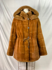 "30"" Whiskey sheared mink jacket with hood, reversible to silk, with long-hair mink trim"