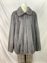 "33"" Iris grey male mink jacket with zipper front"