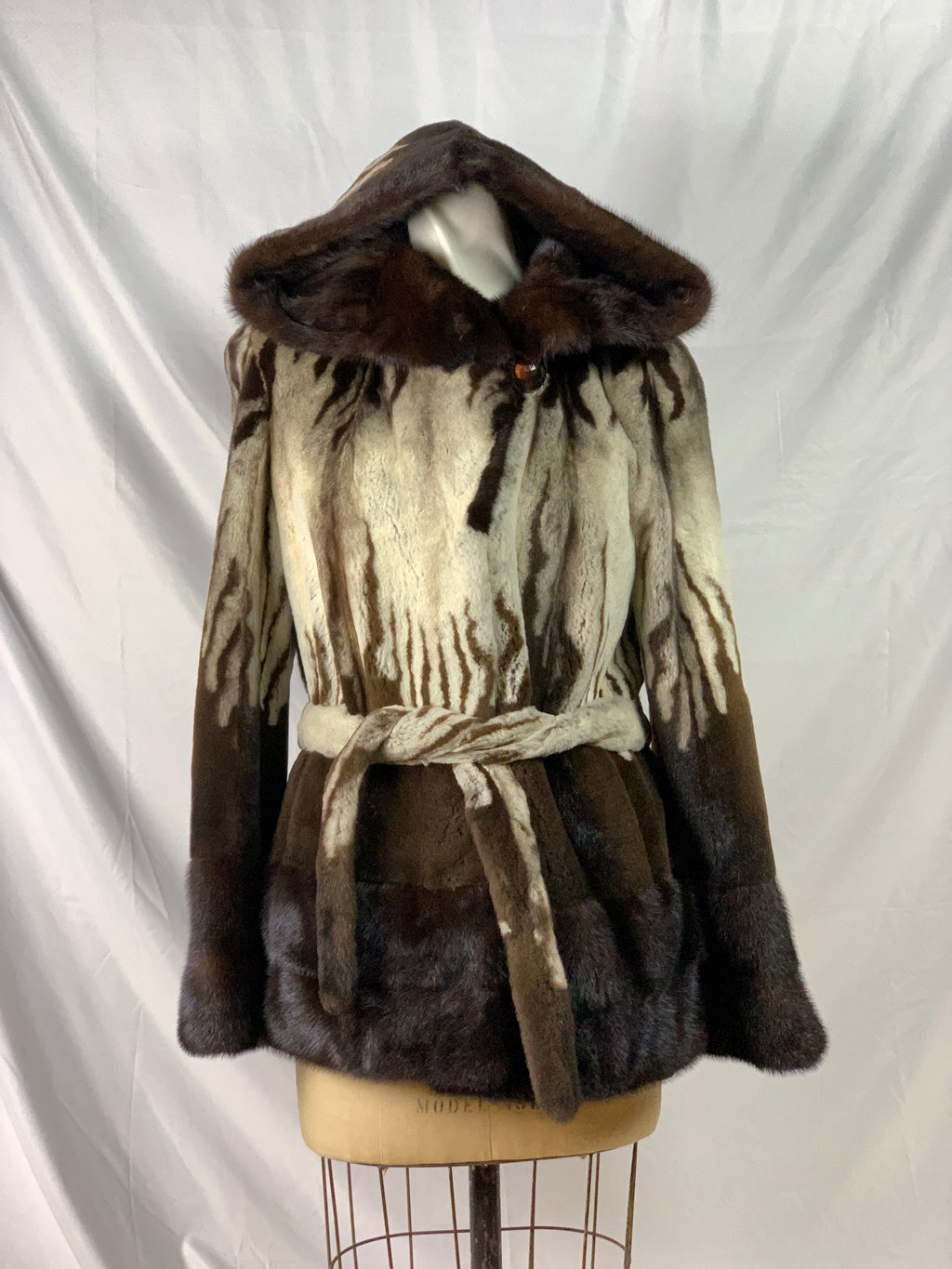 "28"" Brown / beige semi-sheared print mink parka with long-hair trim and belt [CS-21050-BROWN-12]"