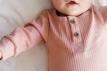 The Taylor Button Front Onesie In Dusty Rose