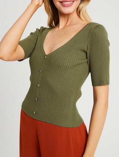 The Lesa Rib Knit Top in Olive