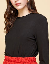 The Carly Ruffle Neck Long Sleeve Tee