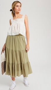 The Sandie Ruffle Skirt in Sage