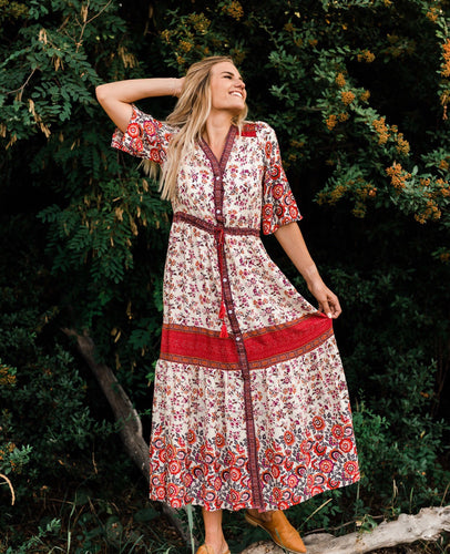 The Mercedes Boho Dress in Red