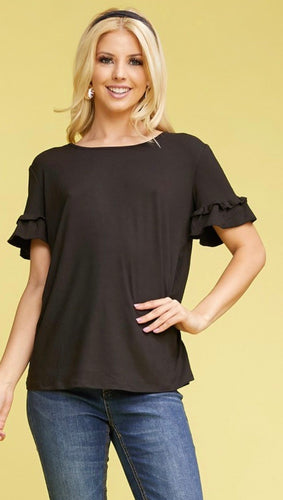 The Ruffle Sleeve Tee in Black and White