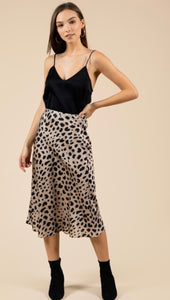 The Nat Satin Leopard skirt