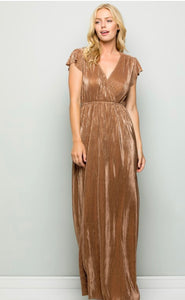 The Elva Dress in Champagne and Bronze Gold