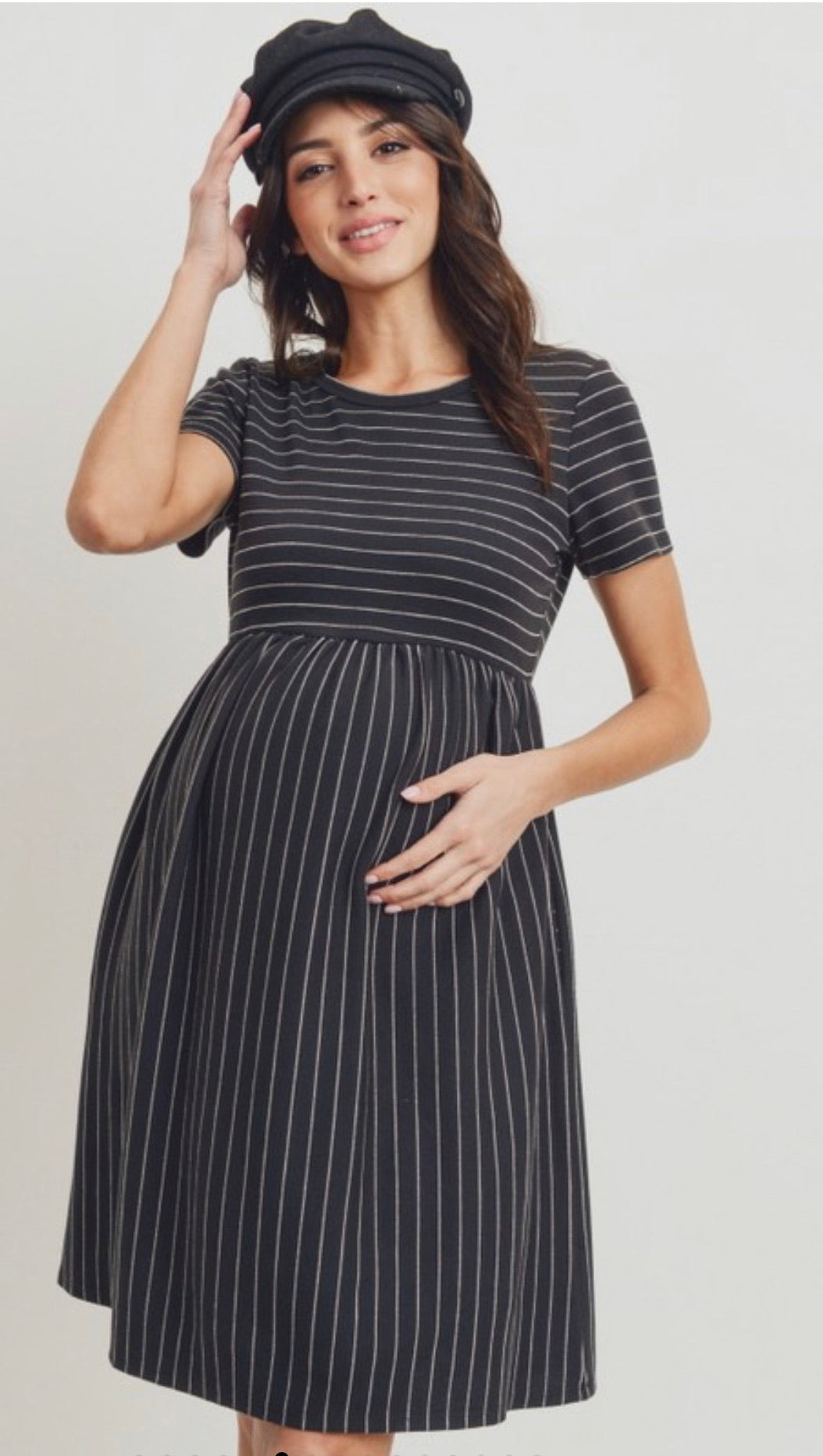 The Tommy Maternity Dress in Black Stripe