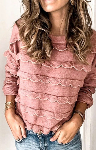 The Stevie Sweater in Warm Pink