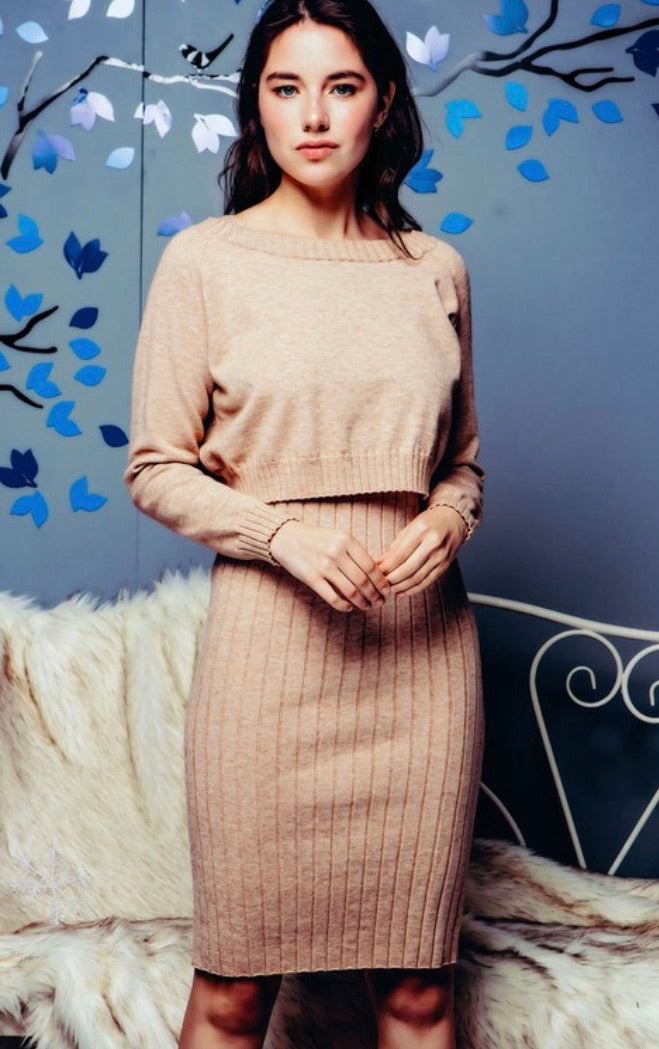 The Jessica Two Piece Sweater Dress Set in Oatmeal