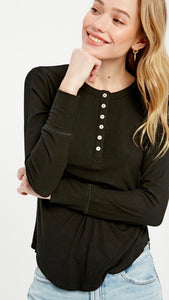 The Vanessa Long Sleeve Tee in Black