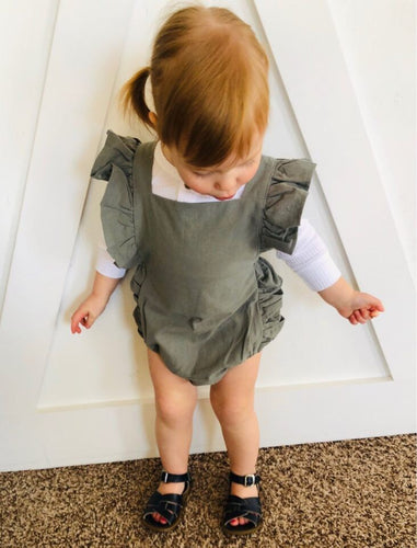 The Sariah Romper in Olive