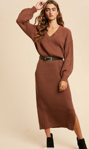 The Eva Sweater Dress in Camel