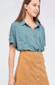 The Tilly Stripe Top in teal