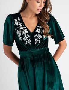 The Monarch Velvet Embroidered Dress in Green
