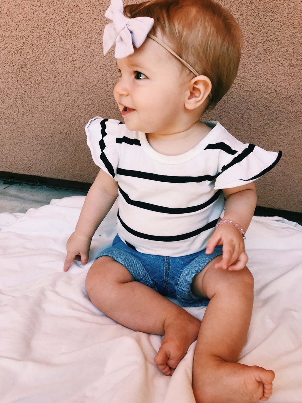 The Poppy Short Sleeve Onesie in White
